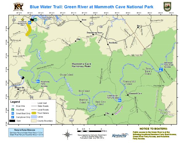 Green River, Mammoth Cave National Park Map