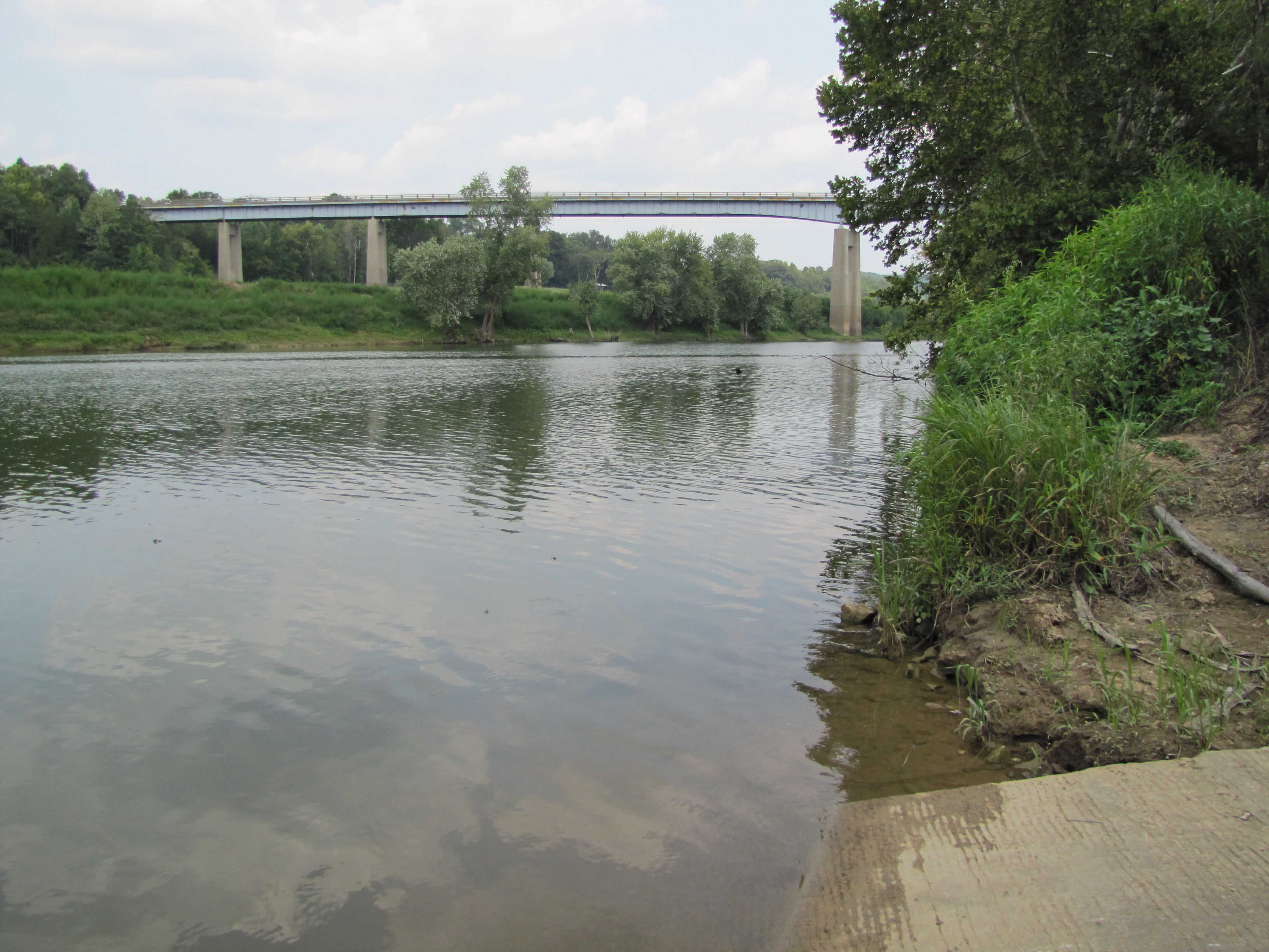 Looking upstream from the Brownsville City Boat Ramp at HWY 259 Bridge.