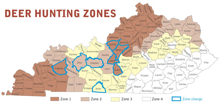 Kentucky department of fish wildlife deer hunting zones for Kentucky fish and game