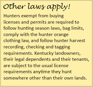 Kentucky department of fish wildlife license for Age requirement for fishing license